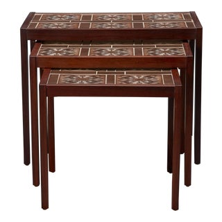 Set of Three Rosewood and Tile Danish Modern Nesting Tables For Sale