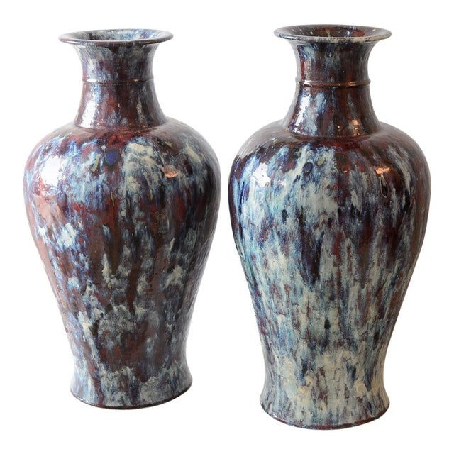 Blue Antique 19th C. Asian Glazed Ceramic Vases - a Pair For Sale - Image 8 of 8