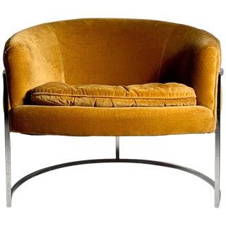 Milo Baughman Chrome Barrel Back Club Chair For Sale