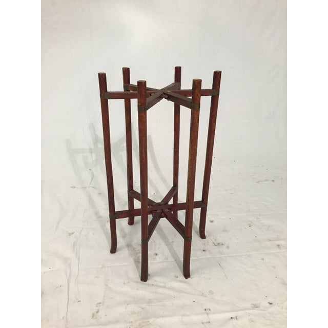 Brown Antique Chinese Two-Tier Folding Table with Brass For Sale - Image 8 of 8