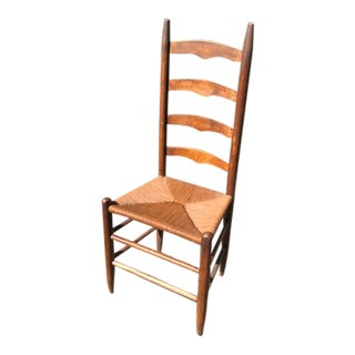 Antique Ladder Back Rush Seat Chair For Sale