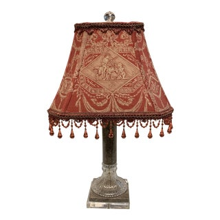 Leviton Traditional Stone and Glass Table Lamp With Beaded Shade For Sale