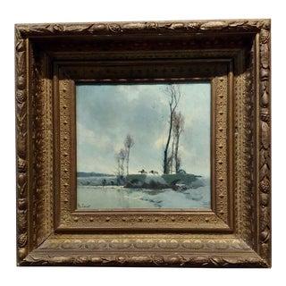 Alexandre Louis Jacob -Bridge Crossing in December Snow -Oil Painting-C. 1900s For Sale