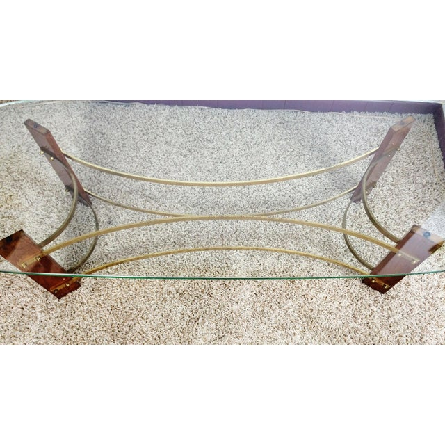 Brass Mid-Century Wood & Glass Coffee & Lighted Side Table - Set of 3 For Sale - Image 7 of 10