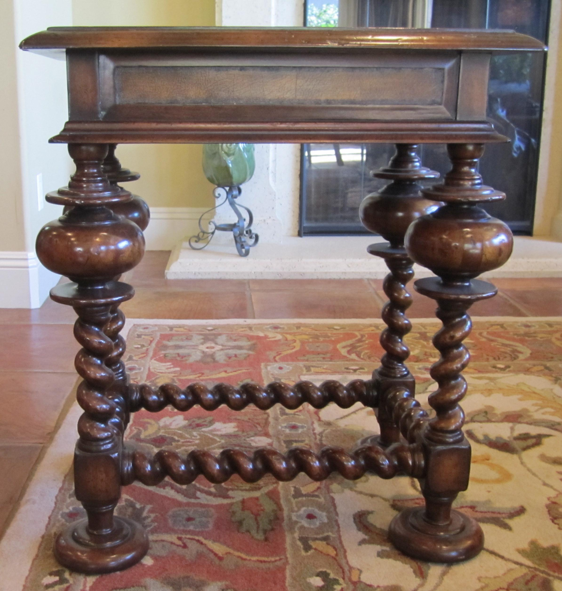 Charmant John RIchard Fine Furniture Leather Inlay U0026 Turned Leg Wood Side Table    Image 2 Of