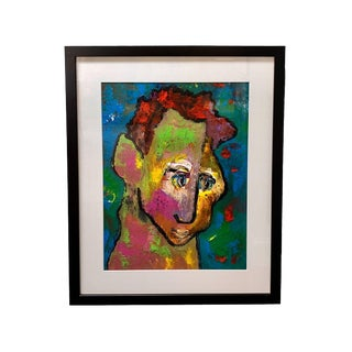 20th Century Colorful Portrait Painting For Sale