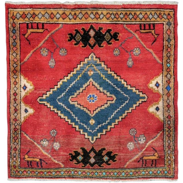"Vintage Persian Mahal Rug – Size: 2' 9"" X 2' 11 For Sale"