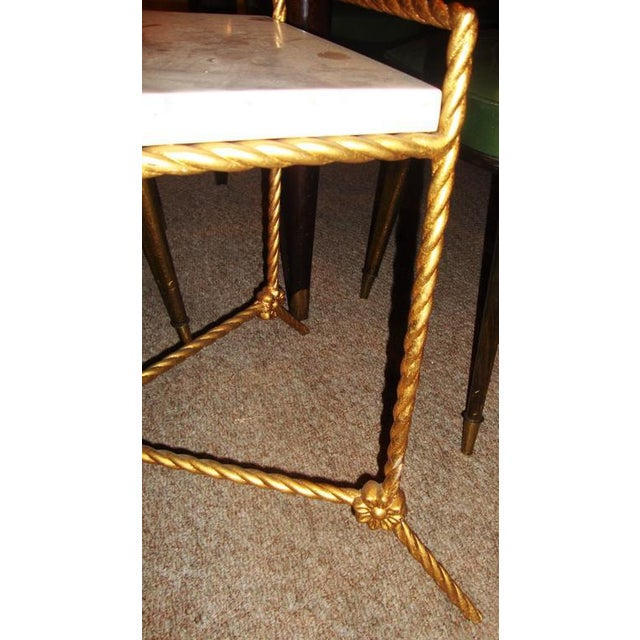 Rectangular Marble Top Seat Bench With Metal Twist Base Adorning Florets For Sale In New York - Image 6 of 7