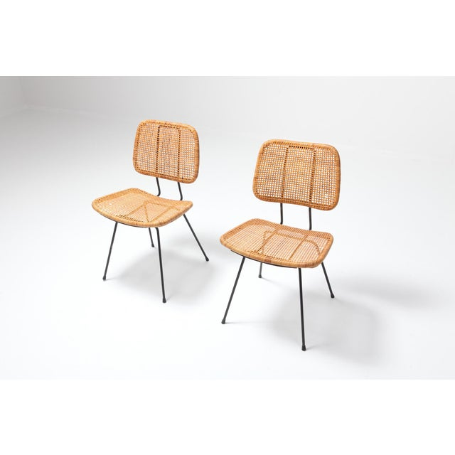 Cane and Black Metal Tropical Dining Chair From the 50s For Sale - Image 6 of 10