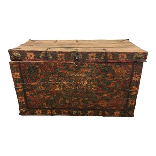 Antique Tibetan Painted Trunk For Sale