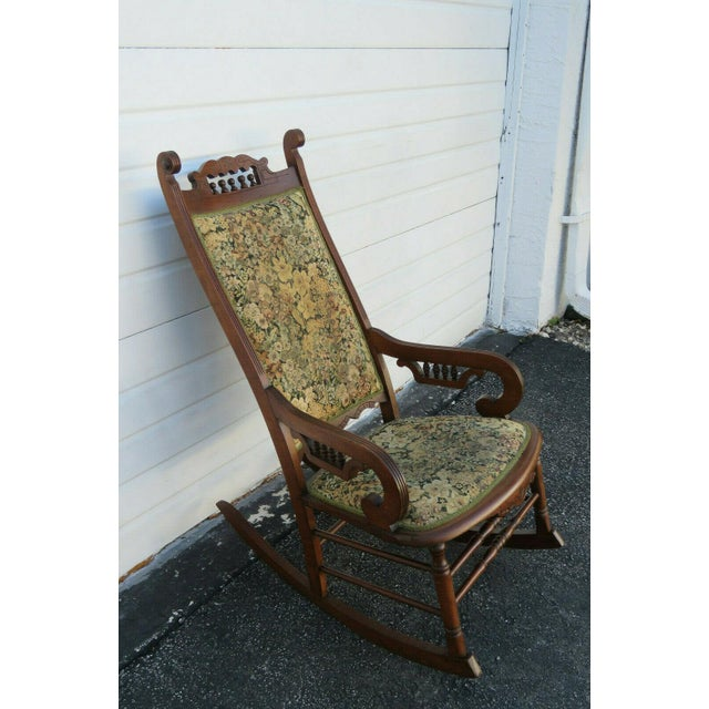 19th Century Victorian Carved Side Rocking Chair For Sale - Image 9 of 11
