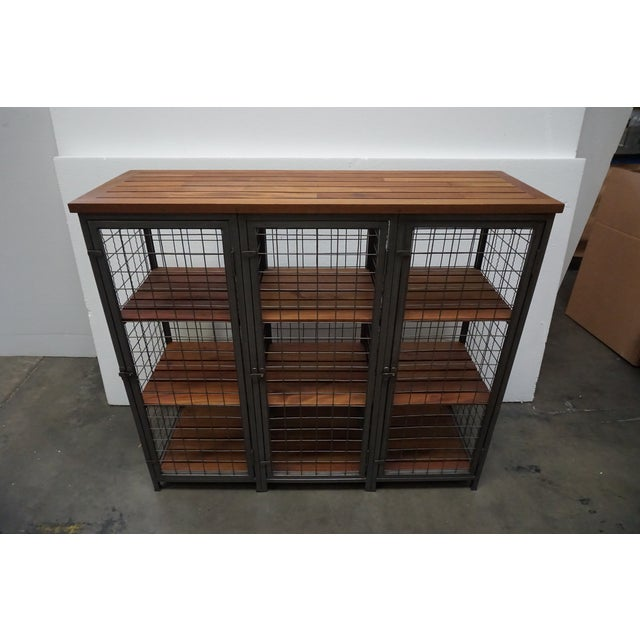 Contemporary Mesh & Wood Storage Unit For Sale - Image 3 of 7