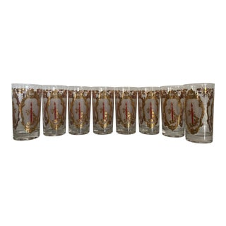 Christmas/Holiday Gold and Red High Ball Glasses - Set of 8 For Sale