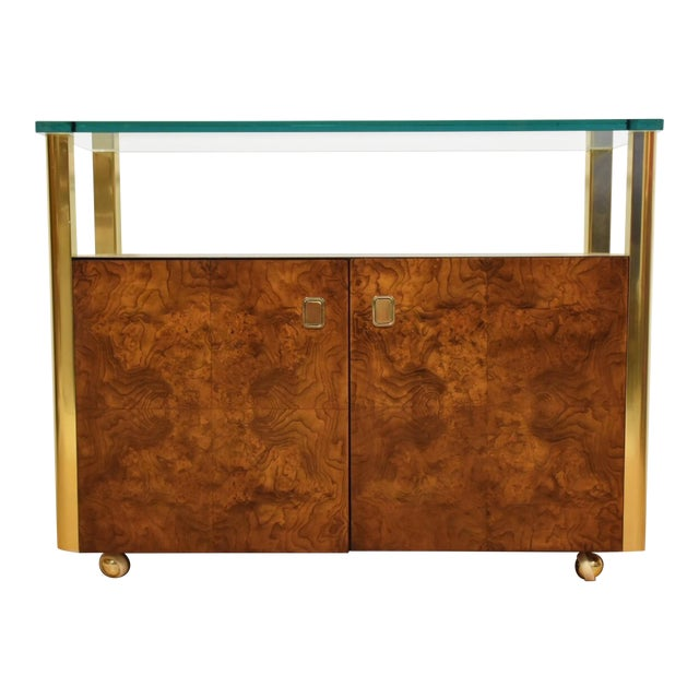 Burl Wood and Brass Sideboard by Century Furniture Company For Sale
