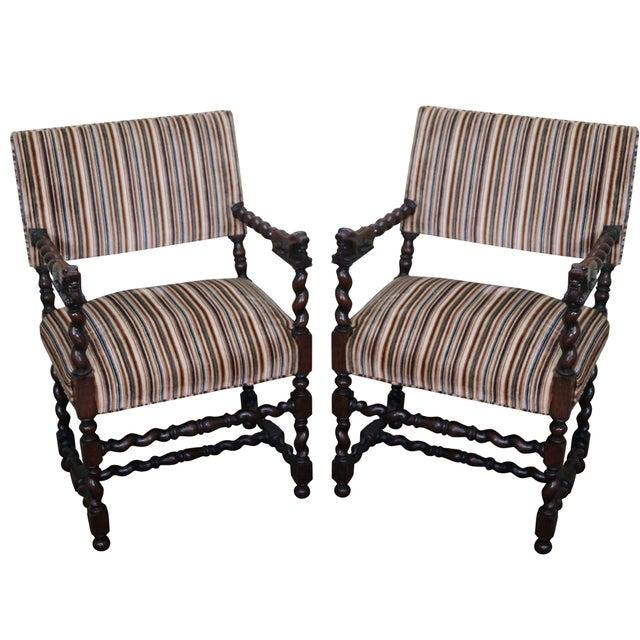 Antique Oak Lion Barley Twist Armchairs - A Pair - Image 1 of 10