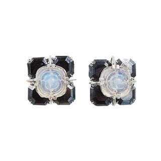 Vintage Christian Dior Faux-Hermatite & Cut Rose Faux-Moonstone Earrings For Sale