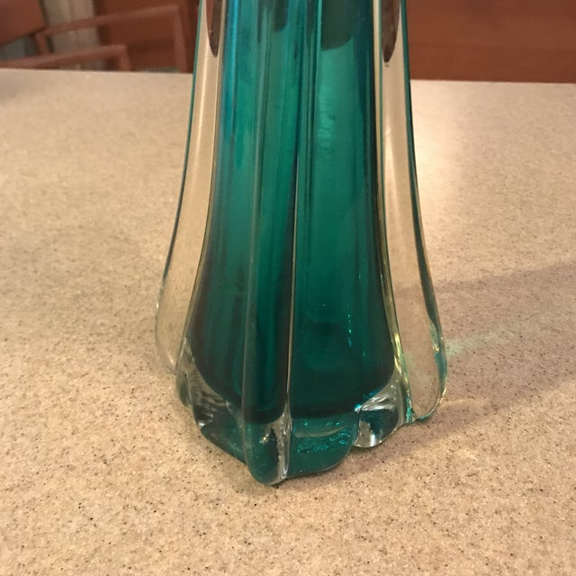 Turquoise Hand Blown Vintage Art Glass Vase For Sale - Image 8 of 11