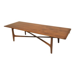 1960s Danish Modern Dux Folke Ohlsson Coffee Table With X-Stretcher For Sale