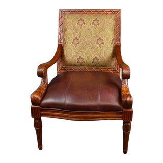 Vintage Mid Century Carved Brown Leather Accent Chair by Fairfield For Sale