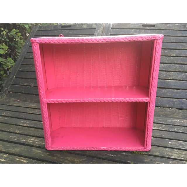 1950s Shabby Chic Hot Pink Wicker Shelf For Sale - Image 10 of 10