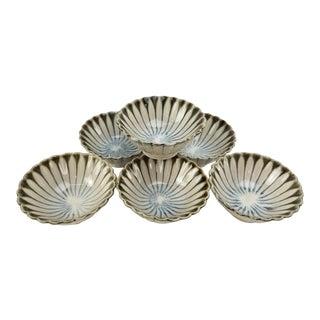 Vintage Japanese Soy Sauce Bowls - Bone China Hand Made Drip Glaze Set of (6) Bowl For Sale