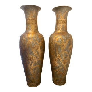 Massive Silver & Gold Floral Motif Brass Urns-Pair For Sale