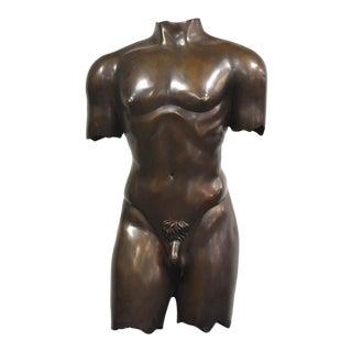Bronze Sculpure Nude Male Torso Mid Century Modern For Sale