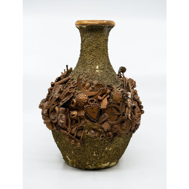 Folk Art Mixed Media Applique Ceramic Vase For Sale - Image 4 of 12