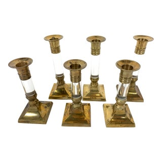 1940s Vintage Brass and Lucite Candlestick Holders - Set of 6 For Sale