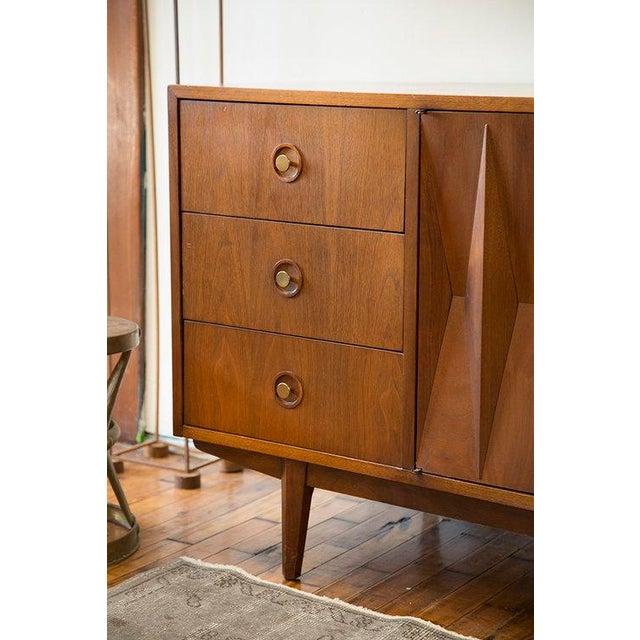 Walnut American of Martinsville Walnut Diamond Front Dresser For Sale - Image 7 of 10