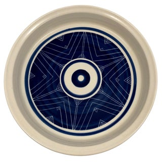 Handthrown Blue and White Design Pottery Baking Dish For Sale