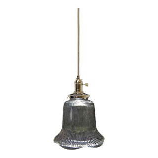 Vintage Glass Holophane Style Pendant Light For Sale