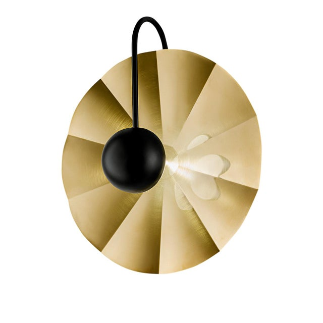 """Not Yet Made - Made To Order Large Reflector Wall Light in Brushed Brass With Satin Black (19.7"""") For Sale - Image 5 of 8"""
