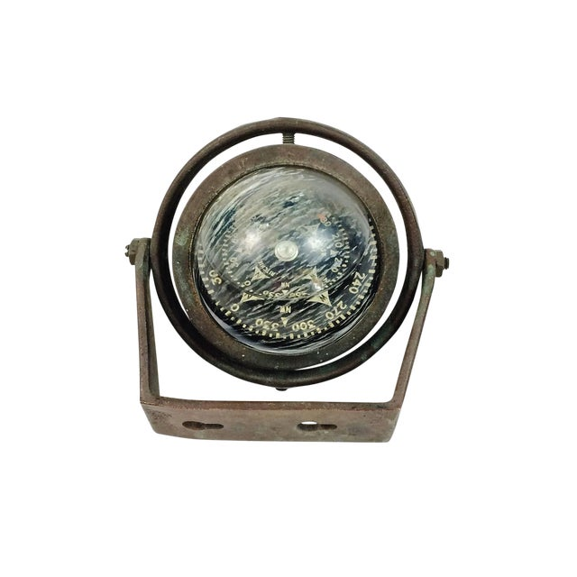 Brass Ritchie Marine Wall Mount Compass For Sale