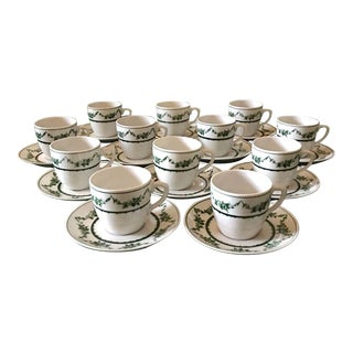 1980s Vista Alegre Portugal Porcelain Demitasse Cups and Saucers - Set of 24 For Sale