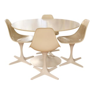 Mid Century Modern Burke Tulip Propeller Dining Dinette Set Table 4 Chairs 1960s For Sale