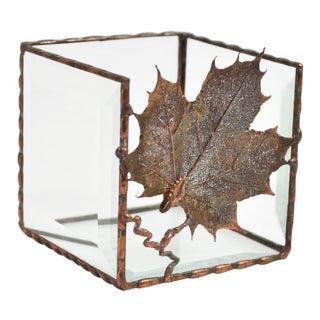 Beveled Glass & Copper Leaf Tea Light Holder