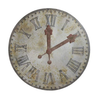 Distressed Metal Wall Clock For Sale