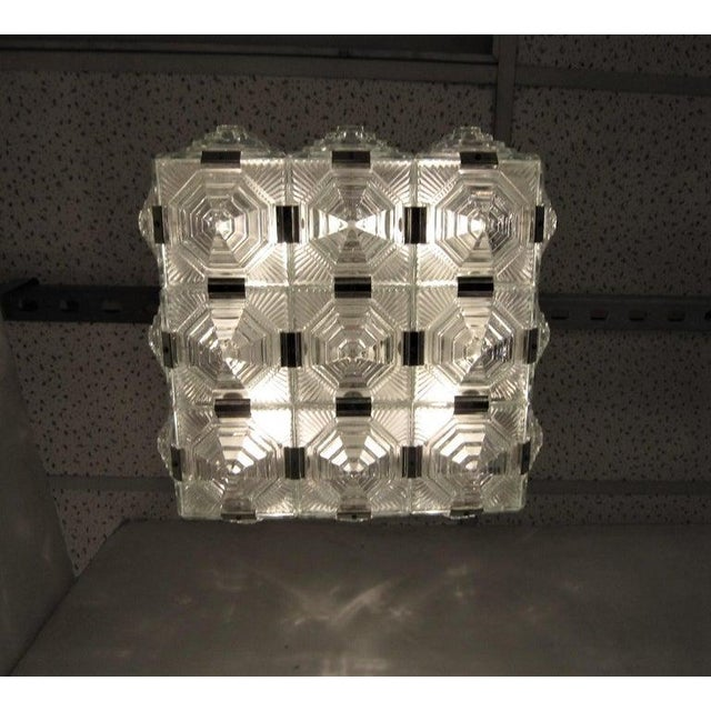 Metal Art Deco Revival Flush Mount Glass Ceiling Squares - 2 Available For Sale - Image 7 of 13