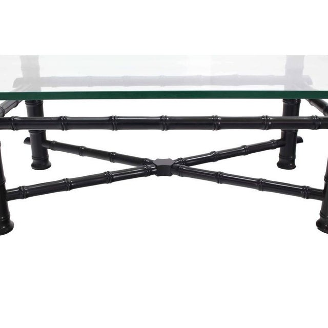 Faux Bamboo Black Lacquer Glass Top Coffee Table For Sale - Image 4 of 7