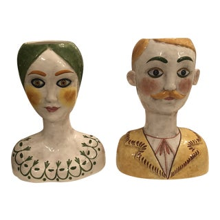 1960s Italian Horchow Ceramic Head Vases - a Pair For Sale