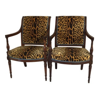 Late 18th Century French Directoire Leopard Velvet Arm Chairs - a Pair For Sale