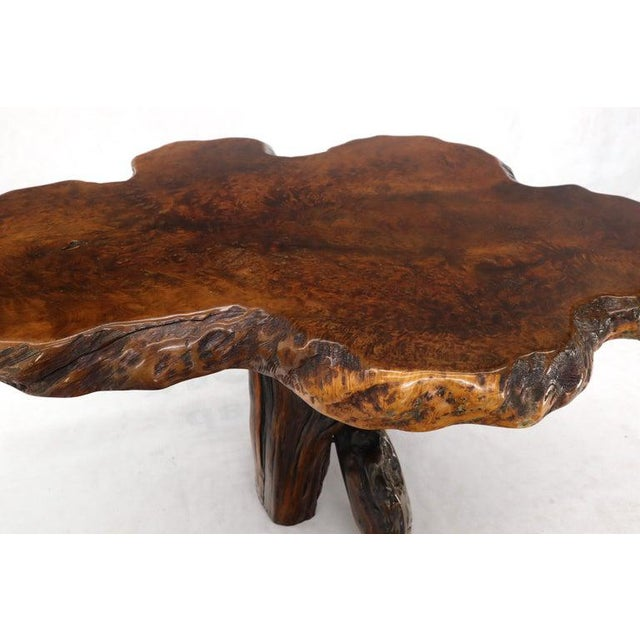 Burl Wood Natural Free Edge Slab Top Gueridon Center Table For Sale - Image 10 of 12