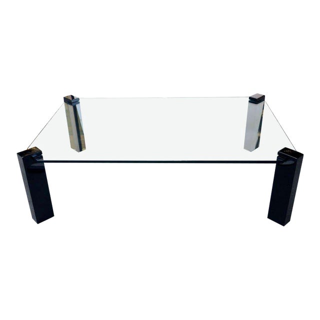 Exceptional Modernist Black lacquer and Glass Cocktail Table For Sale