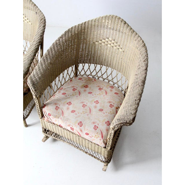 Antique Wicker Chair and Rocker For Sale - Image 6 of 11