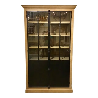 Transitional Oak and Iron Display Cabinet For Sale