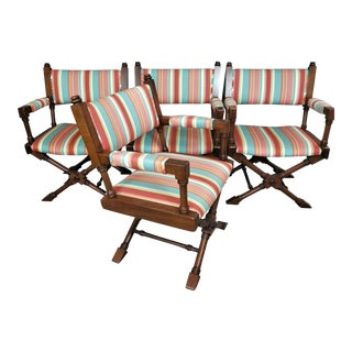 Vintage Hollywood Regency Solid Wood Faux Bamboo Captains Dining Chairs - Set of 4 For Sale
