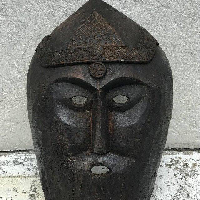 1900 - 1909 Huge Carved Mahogany Celtic Mask For Sale - Image 5 of 12