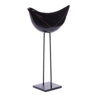 Bitossi Ceramic Black Bird on Stand Coppia Uccelli For Sale