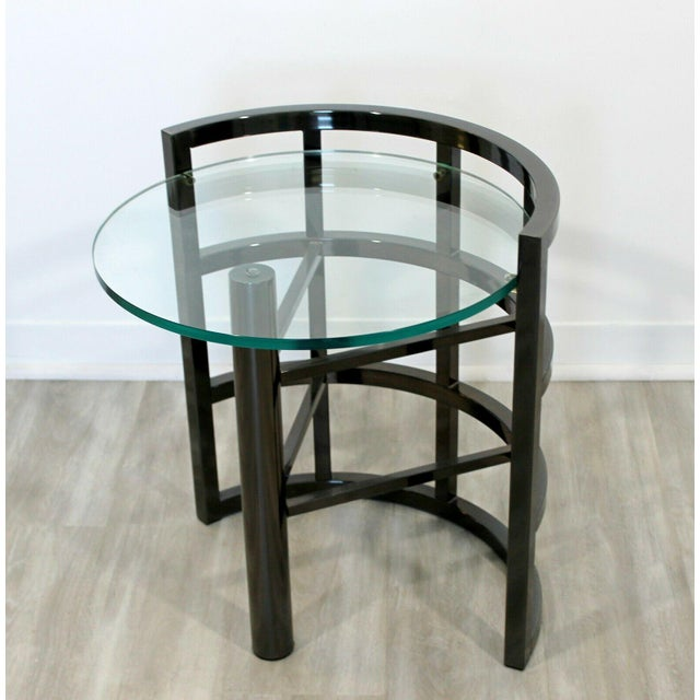 Brueton Contemporary Modern Brueton Round Gunmetal Glass Side End Table 80s Asymmetrical For Sale - Image 4 of 12
